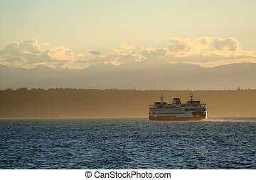 Ferry boat - Ferry trip during sunset