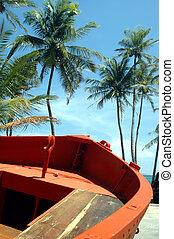 orange boat 426 - orange boat blue skies