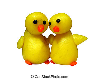 Two chicks - plasticine