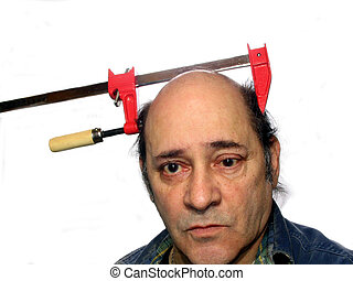 Brain Teaser - ,man with a clamp on his head,good humor,over...
