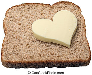 Butter loves bread - Butter heart on a slice of bread