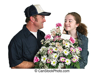 adolescente, menina, flores, amores