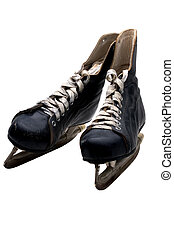 Ice Hockey Skates - Old Pair Of Ice Hockey Skates (Isolated)