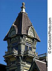 Queen Anne crown - detail of Queen Anne architecture parapet...