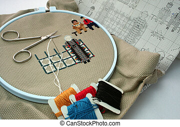 cross stitch with accessories