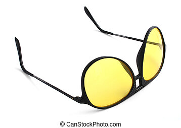 glasses for night driving on white background