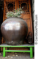 Giant pot with flowers