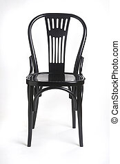 black chair - schwarzer Stuhl - black wood chair on white...
