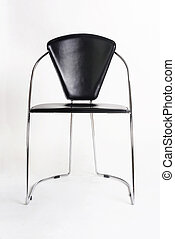 chair - metallic chair with black leather