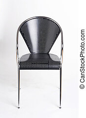 metallic chair - black metal chair on white background -...