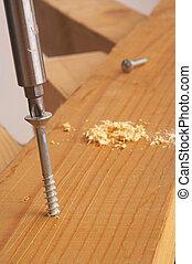 screw - verdreht - screw drilled in wood - Schraube in Holz...