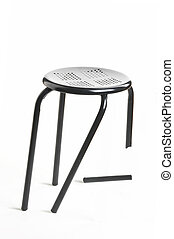 confidence - Vertrauen - metal chair with broken leg on...