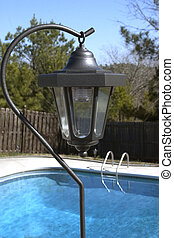 Solar Lamp - Solar lamp at pool side