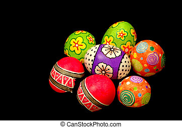 Easter Eggs with black background, artwork on eggs designed...
