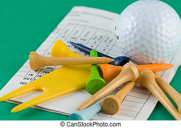 Golf Equipment - golf ball, tees and scorecard
