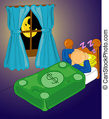 Security blanket - Man sleeping with money as a security...