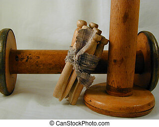 Pins and spools - Vintage wood clothes pins and wooden...