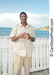 local man  - singing on beach