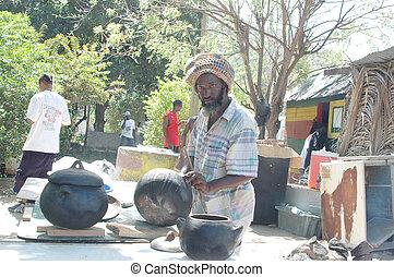 rasta man preparing food 320 - rasta preparing food at...