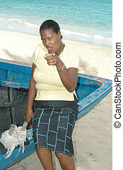 woman on old boat 738 - pointing woman on old fishing boat