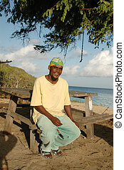 smiling island man 584 - smiling island man by the beach