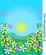 Spring illustration,flowers and butterflies over blue...