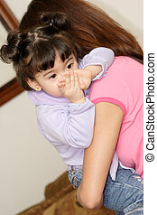 Babysitter holding cute baby girl - Babysitter or any woman...
