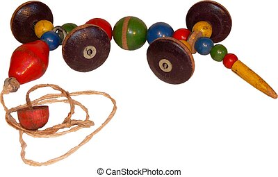 Wooden pull toy - A wooden pull toy from the 50\'s -...