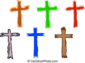 cross symbols - funky and colourful Christian crosses