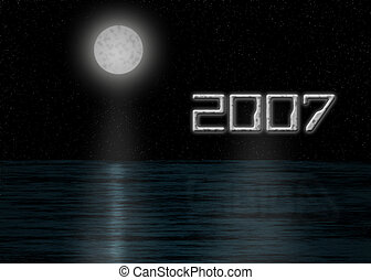 2007 moon - moon and ocean scenic illustration for new year,...