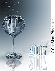 glass 2007 - New Year still life with champagne glass with...
