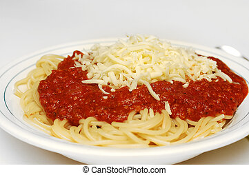 Pasta bolognaise with cheese - Pasta, spaghetti bolognaise...