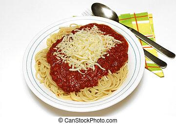 Pasta bolognaise with mozarella - Pasta, spaghetti...