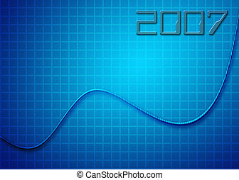 cord 2007 - curvy line ascending on blue grid to New Year,...
