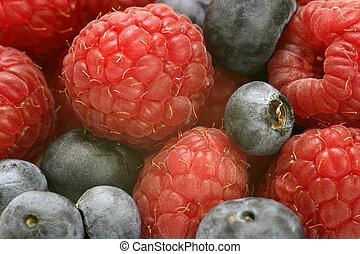 Mixed Fruit - Close up macro shot of blueberries and...
