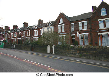 Terrace of Houses in North England - Old Terrace of Houses...
