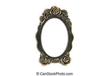 Vintage Brass Frame - Vintage brass frame on white...
