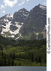 Maroon Bells - Peaks near Aspen, Colorado with a lake in the...