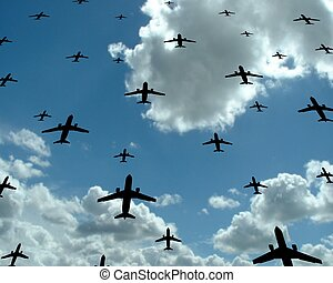 Fly - Passenger aeroplanes on sky background