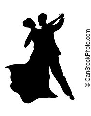 Dancing Couple - Illustrated Silhouette of a dancing couple