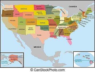 USA map - United States map with all states
