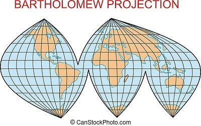 Bartholomew projecti - projection map