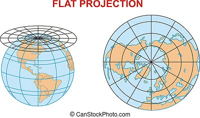 A world flat project - map of the world flat projection