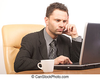 solving problem - Busy boss with his laptop - general