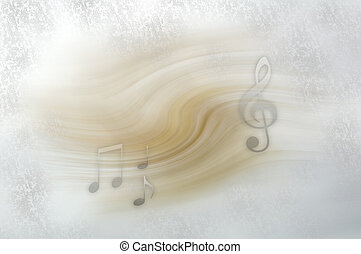 Musical notes floating on  light background