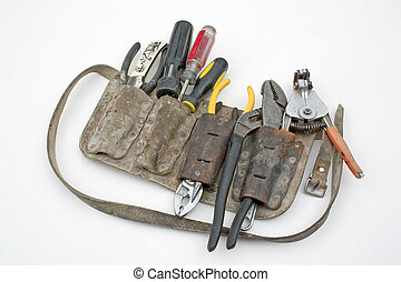 Tool belt - A tradesmans tool belt full of tools