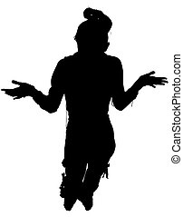 Silhouette With Clipping Path of Woman Standing Arms Out -...