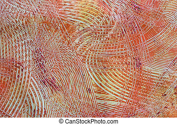 Paste Paper: Orange, Red, and Gray Swirls - Photo of a part...