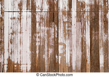 grunge wood background with white peeling paint
