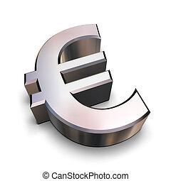 3D chrome Euro symbol - A chrome-plated Euro symbol isolated...